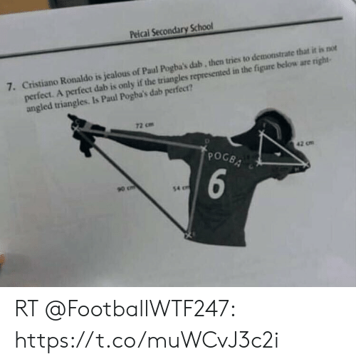 pogba: Peical Secondary School  7. Cristiano Ronaldo is jealous of Paul Pogba's dab, then tries to demonstrate that it is not  perfect. A perfect dab is only if the triangles represented in the figure below are right-  angled triangles. Is Paul Pogba's dab perfect?  72 cm  POGBA  42 om  6  90 cm  54 RT @FootballWTF247: https://t.co/muWCvJ3c2i