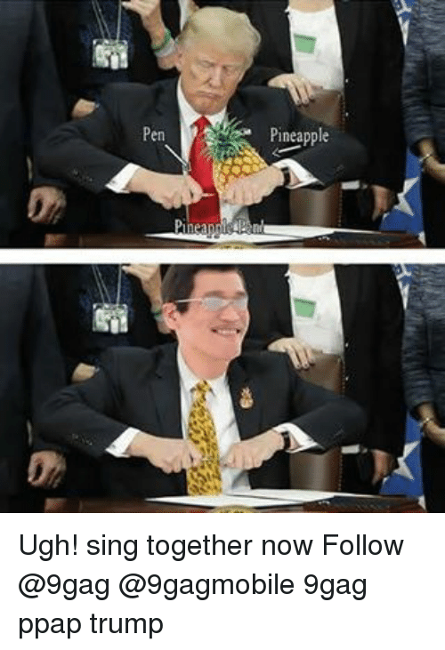 Pineappl: Pen  Pineapple Ugh! sing together now Follow @9gag @9gagmobile 9gag ppap trump
