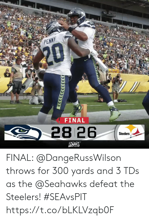 penny: PENNY  $20  FINAL  28 26  Steelers  GAP FINAL: @DangeRussWilson throws for 300 yards and 3 TDs as the @Seahawks defeat the Steelers! #SEAvsPIT https://t.co/bLKLVzqb0F