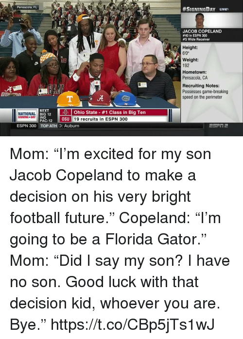 """pac: Pensacola, FL  #SIGNINGDAY LIVE,  JACOB COPELAND  #40 in ESPN 300  #5 Wide Receiver  Height:  6'0""""  Weight:  192  Hometown  Pensacola, CA  Recruiting Notes:  Possesses game-breaking  speed on the perimeter  ut  NEXT  RI 12 10 