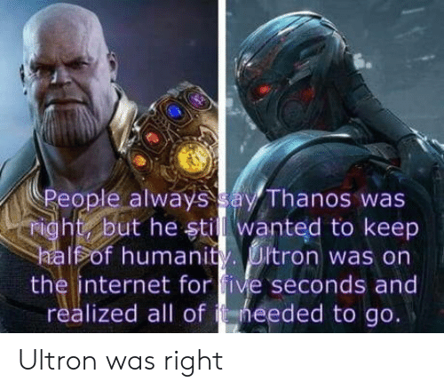 Internet, Humanity, and Thanos: People always ay Thanos was  ight but he stil wanted to keep  Fof humanity. Ultron was on  the internet for five seconds and  realized all of heeded to go. Ultron was right