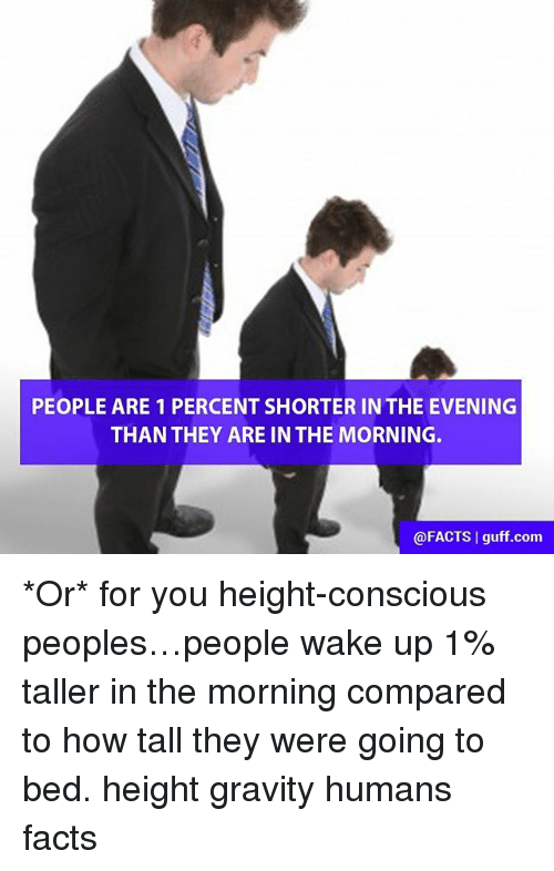 guff: PEOPLE ARE 1 PERCENT SHORTER IN THE EVENING  THAN THEY ARE IN THE MORNING.  @FACTS l guff com *Or* for you height-conscious peoples…people wake up 1% taller in the morning compared to how tall they were going to bed. height gravity humans facts