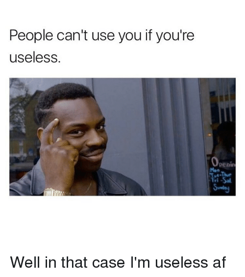 Well In That Case: People can't use you if you're  useless  Openin Well in that case I'm useless af