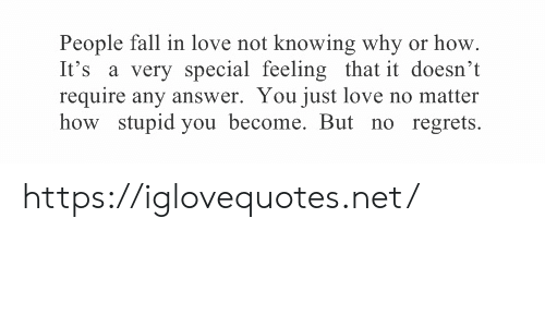 Require: People fall in love not knowing why or how  It's a very special feeling that it doesn't  require any answer. You just love no matter  how stupid you become. But no regrets https://iglovequotes.net/