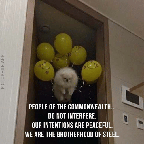 commonwealth: PEOPLE OF THE COMMONWEALTH.  DO NOT INTERFERE.  OUR INTENTIONS ARE PEACEFUL.  WE ARE THE BROTHERHOOD OF STEEL.