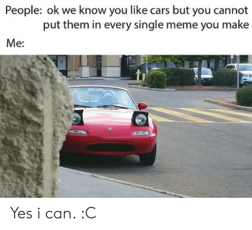 meme you: People: ok we know you like cars but you cannot  put them in every single meme you make  Me: Yes i can. :C