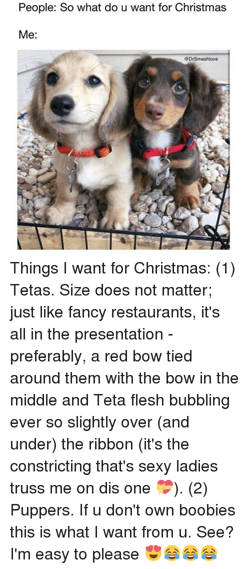 Boobis: People: So what do u want for Christmas  Me  DrSmashlove Things I want for Christmas: (1) Tetas. Size does not matter; just like fancy restaurants, it's all in the presentation - preferably, a red bow tied around them with the bow in the middle and Teta flesh bubbling ever so slightly over (and under) the ribbon (it's the constricting that's sexy ladies truss me on dis one 💝). (2) Puppers. If u don't own boobies this is what I want from u. See? I'm easy to please 😍😂😂😂