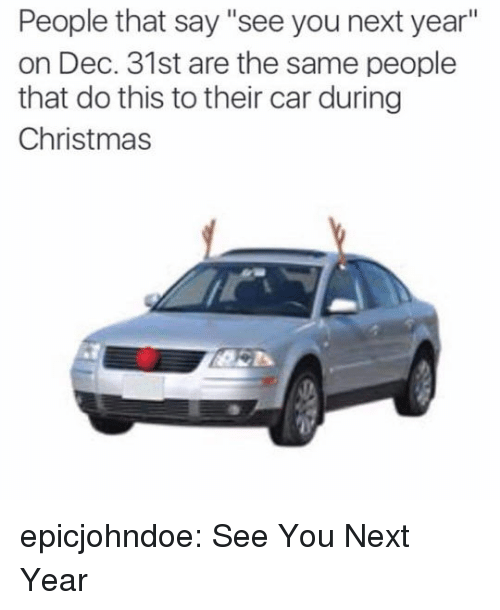 "See You Next Year: People that say ""see you next year""  on Dec. 31st are the same people  that do this to their car during  Christmas epicjohndoe:  See You Next Year"