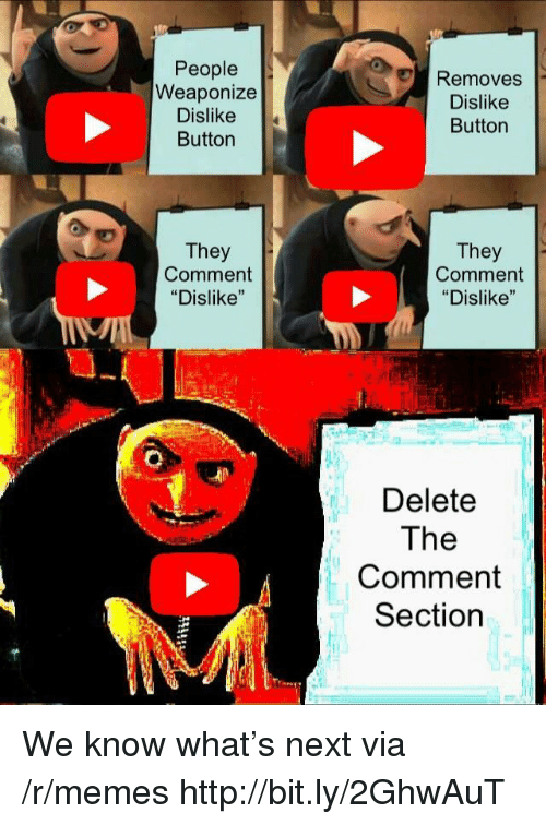 "Comment Section: People  Weaponize  Dislike  Button  Removes  Dislike  Button  They  Comment  ""Dislike""  They  Comment  ""Dislike""  Delete  The  Comment  Section We know what's next via /r/memes http://bit.ly/2GhwAuT"