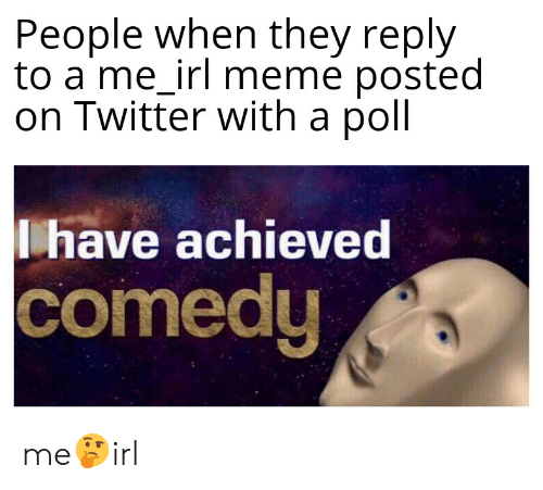 Irl Meme: People when they reply  to a me_irl meme posted  on Twitter with a poll  have achieved  comedy me🤔irl