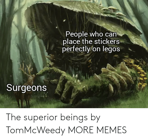 People Who: People who can  place the stickers  perfectly on legos  Surgeons The superior beings by TomMcWeedy MORE MEMES