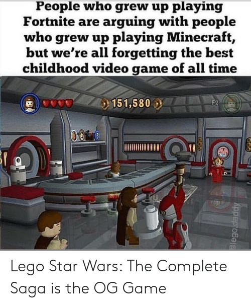 Lego, Minecraft, and Star Wars: People who grew up playing  Fortnite are arguing with people  who grew up playing Minecraft  but we're all forgetting the best  childhood video game of all time  0 Lego Star Wars: The Complete Saga is the OG Game