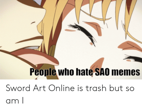 Anime, Memes, and Trash: People who hate SAO memes Sword Art Online is trash but so am I