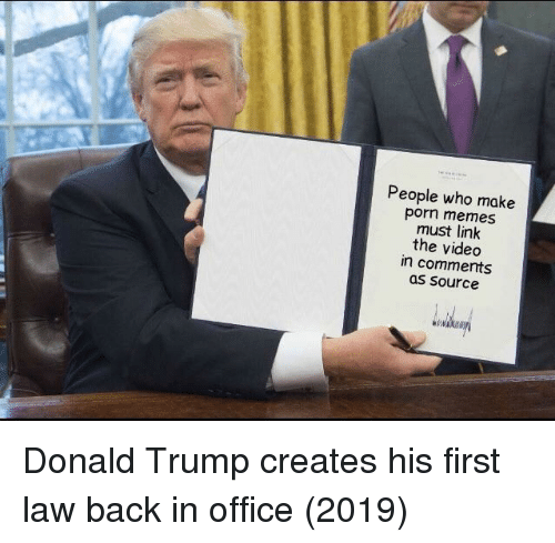 Donald Trump, Memes, and Link: People who make  porn memes  must link  the videdo  in comments  as Source Donald Trump creates his first law back in office (2019)