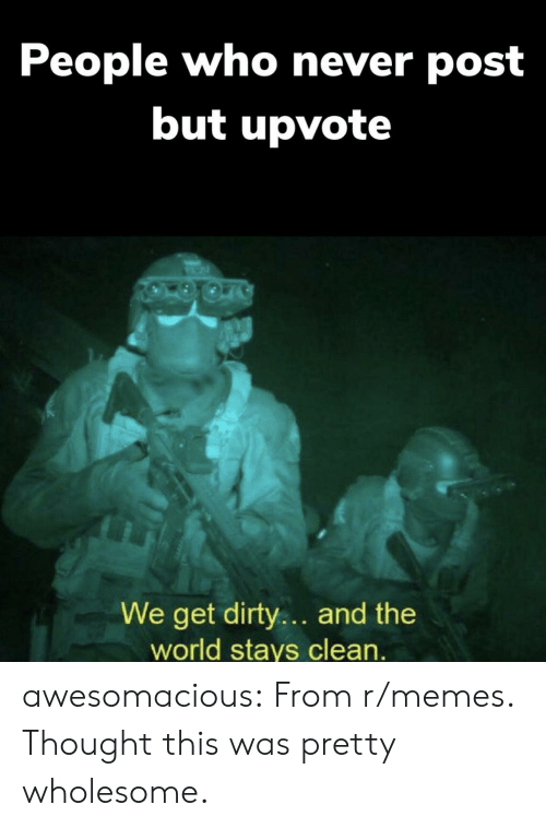 Memes, Tumblr, and Dirty: People who never post  but upvote  We get dirty.. and the  world stays clean. awesomacious:  From r/memes. Thought this was pretty wholesome.