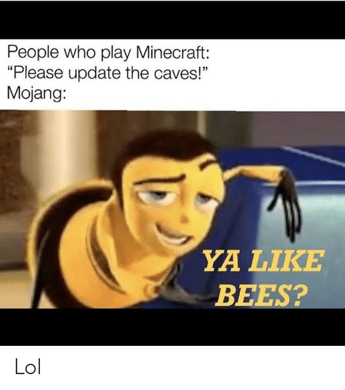 "Bees: People who play Minecraft:  ""Please update the caves!""  Mojang:  YA LIKE  BEES? Lol"