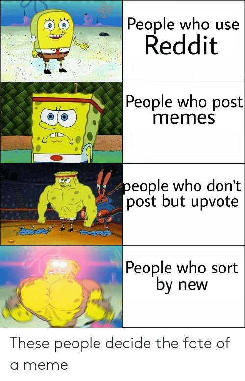 """Fate: People who use  Reddit  People who post  memes  people who don't  [post but upvote   People who sort  """"by  new These people decide the fate of a meme"""