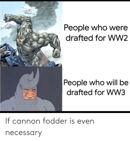People Who: People who were  drafted for WW2  People who will be  drafted for WW3 If cannon fodder is even necessary