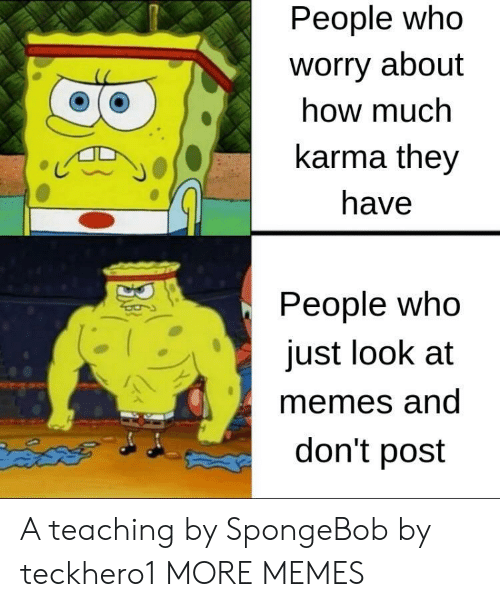 Dank, Memes, and SpongeBob: People who  worry about  how much  karma they  じ  have  People who  just look at  memes and  don't post A teaching by SpongeBob by teckhero1 MORE MEMES