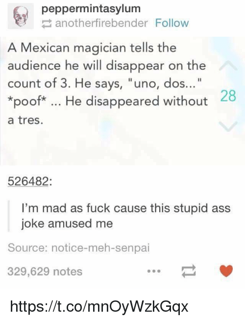 "Meh, Uno, and Senpai: peppermintasylum  anotherfirebender Follow  A Mexican magician tells the  audience he will disappear on the  count of 3. He says, ""uno, dos...""  *poof*. He disappeared without  a tres.  28  526482:  I'm mad as fuck cause this stupid ass  joke amused me  Source: notice-meh-senpai  329,629 notes https://t.co/mnOyWzkGqx"