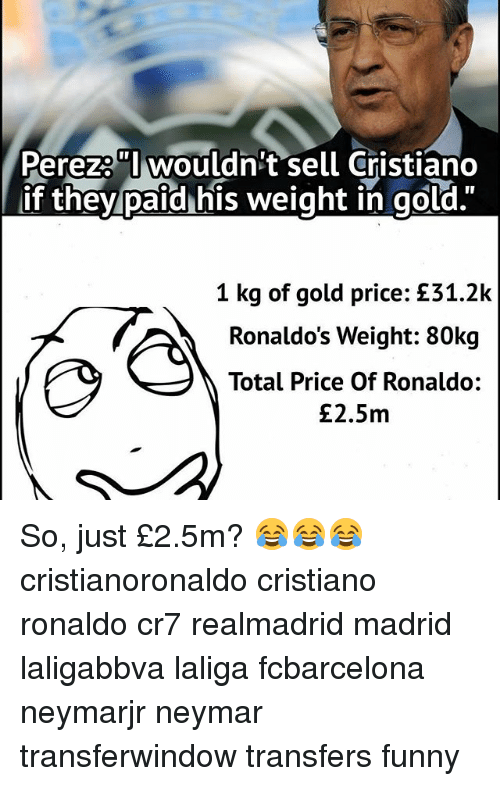 """Cristiano Ronaldo, Funny, and Memes: Perezo""""l wouldn't sell Cristiano  if they paid his weight in gold.""""  1 kg of gold price: £31.2k  Ronaldo's Weight: 80kg  Total Price Of Ronaldo:  £2.5m So, just £2.5m? 😂😂😂 cristianoronaldo cristiano ronaldo cr7 realmadrid madrid laligabbva laliga fcbarcelona neymarjr neymar transferwindow transfers funny"""