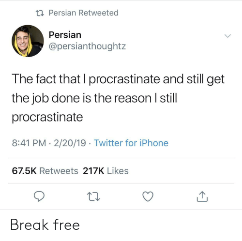 procrastinate: Persian Retweeted  Persian  @persianthoughtz  The fact that I procrastinate and still get  the job done is the reason I still  procrastinate  8:41 PM 2/20/19 Twitter for iPhone  67.5K Retweets 217K Likes Break free