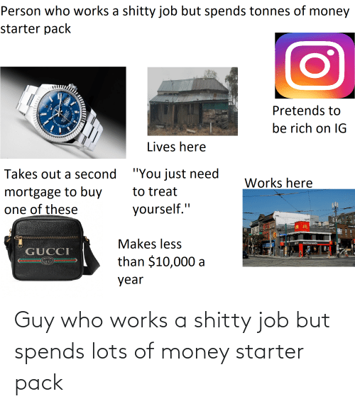 "Gucci, McDonalds, and Money: Person who works a shitty job but spends tonnes of money  starter pack  Pretends to  be rich on IG  Lives here  ""You just need  Takes out a second  Works here  mortgage to buy  one of these  to treat  yourself.""  street  Makes less  McDonald's  GUCCI  than $10,000 a  year Guy who works a shitty job but spends lots of money starter pack"