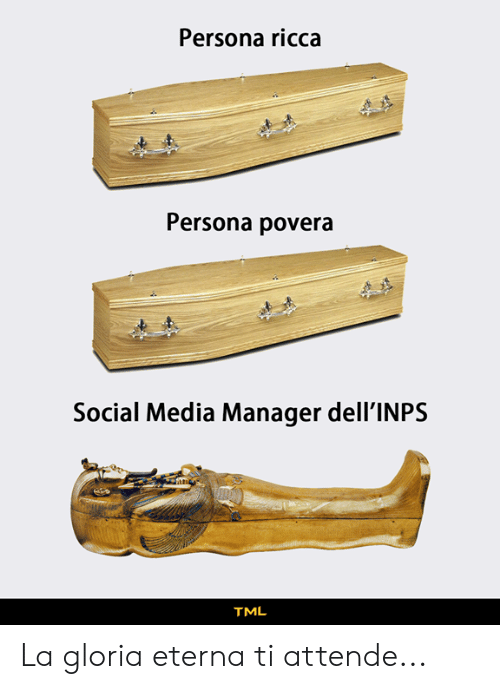 Memes, Social Media, and 🤖: Persona ricca  Persona povera  Social Media Manager dell'INPS  TML La gloria eterna ti attende...