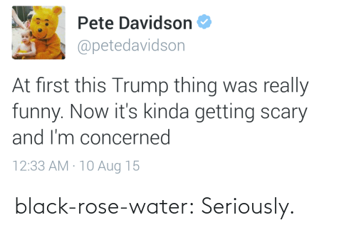 pete davidson: Pete Davidson  @petedavidson  At first this Trump thing was really  funny. Now it's kinda getting scary  and I'm concerned  12:33 AM · 10 Aug 15 black-rose-water:  Seriously.