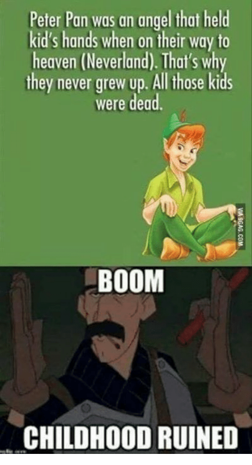Heaven, Memes, and Peter Pan: Peter Pan was an angel that held  kid's hands when on their way to  heaven (Neverland). That's why  they never grew up. All those kids  were dead  BOOM  CHILDHOOD RUINED