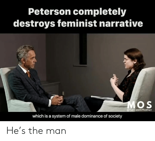 Memes, 🤖, and Man: Peterson completely  destroys feminist narrative  O S  @SarcasmMother  which is a system of male dominance of society He's the man