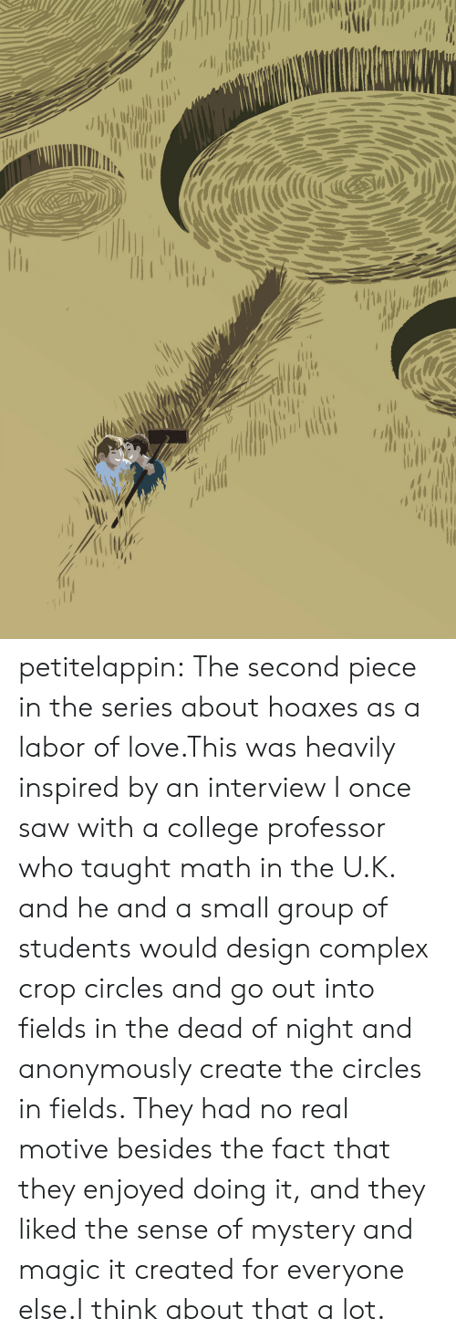 College, Complex, and Love: petitelappin:  The second piece in the series about hoaxes as a labor of love.This was heavily inspired by an interview I once saw with a college professor who taught math in the U.K. and he and a small group of students would design complex crop circles and go out into fields in the dead of night and anonymously create the circles in fields. They had no real motive besides the fact that they enjoyed doing it, and they liked the sense of mystery and magic it created for everyone else.I think about that a lot.