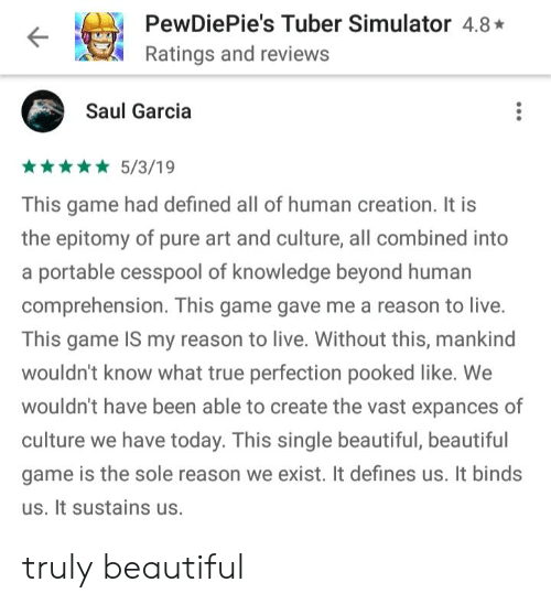 Beautiful, True, and Game: PewDiePie's Tuber Simulator 4.8  Ratings and reviews  Saul Garcia  5/3/19  This game had defined all of human creation. It is  the epitomy of pure art and culture, all combined into  a portable cesspool of knowledge beyond humarn  comprehension. This game gave me a reason to live.  This game IS my reason to live. Without this, mankind  wouldn't know what true perfection pooked like. We  wouldn't have been able to create the vast expances of  culture we have today. This single beautiful, beautiful  game is the sole reason we exist. It defines us. It binds  us. It sustains us. truly beautiful