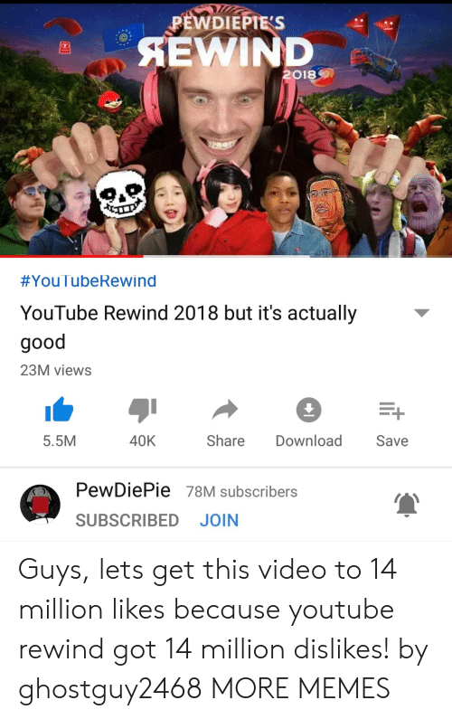 Dank, Memes, and Target: PEWDIEPTES  AEWIND  2018  #You lubeRewind  YouTube Rewind 2018 but it's actually  good  23M views  5.5M  40K  Share Download Save  PewDiePie 78M subscribers  SUBSCRIBED JOIN Guys, lets get this video to 14 million likes because youtube rewind got 14 million dislikes! by ghostguy2468 MORE MEMES