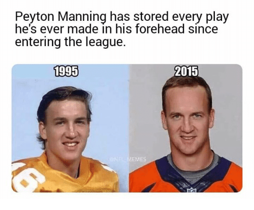 Peyton Manning: Peyton Manning has stored every play  he's ever made in his forehead since  entering the league.  1995  2015  ES
