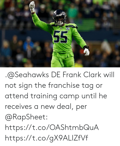 Memes, Seahawks, and 🤖: PGA .@Seahawks DE Frank Clark will not sign the franchise tag or attend training camp until he receives a new deal, per @RapSheet: https://t.co/OAShtmbQuA https://t.co/gX9ALIZfVf