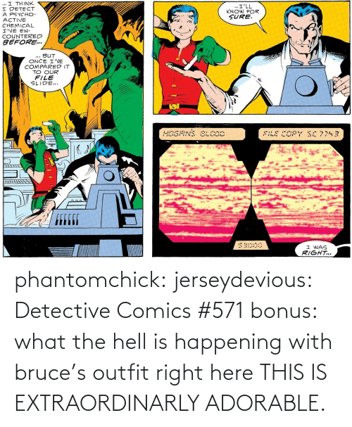 Comics: phantomchick:  jerseydevious:  Detective Comics #571 bonus: what the hell is happening with bruce's outfit right here  THIS IS EXTRAORDINARLY ADORABLE.