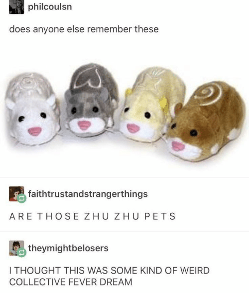 Collective: philcoulsn  does anyone else remember these  faithtrustandstrangerthings  ARE THOSE ZHU ZHU PETS  theymightbelosers  I THOUGHT THIS WAS SOME KIND OF WEIRD  COLLECTIVE FEVER DREAM
