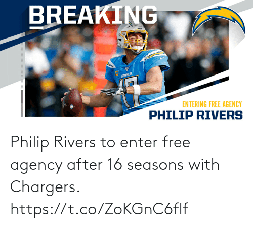 Philip: Philip Rivers to enter free agency after 16 seasons with Chargers. https://t.co/ZoKGnC6flf