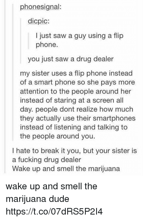 Smarts: phonesignal:  dicpic:  I just saw a guy using a flip  phone  you just saw a drug dealer  my sister uses a flip phone instead  of a smart phone so she pays more  attention to the people around her  instead of staring at a screen all  day. people dont realize how much  they actually use their smartphones  instead of listening and talking to  the people around you.  I hate to break it you, but your sister is  a fucking drug dealer  Wake up and smell the marijuana wake up and smell the marijuana dude https://t.co/07dRS5P2I4