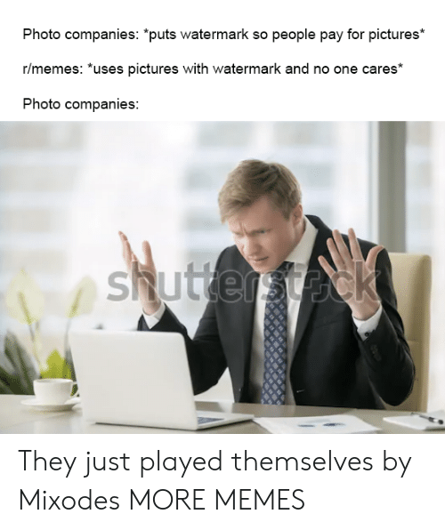 "Dank, Memes, and Target: Photo companies: ""puts watermark so people pay for pictures*  r/memes: *uses pictures with watermark and no one cares*  Photo companies:  shuttersteck They just played themselves by Mixodes MORE MEMES"