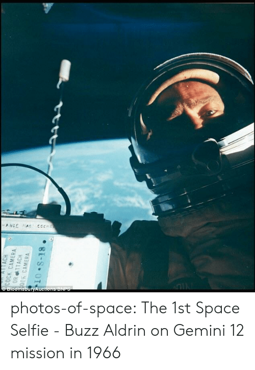 Buzz Aldrin: photos-of-space:  The 1st Space Selfie - Buzz Aldrin on Gemini 12 mission in 1966
