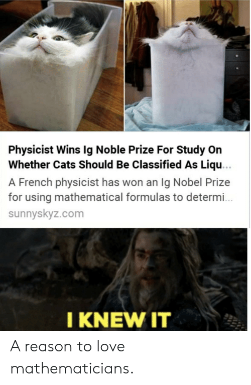 Cats, Love, and Nobel Prize: Physicist Wins Ig Noble Prize For Study On  Whether Cats Should Be Classified As Liqu...  A French physicist has won an Ig Nobel Prize  for using mathematical formulas to determ..  sunnyskyz.com  I KNEW IT A reason to love mathematicians.