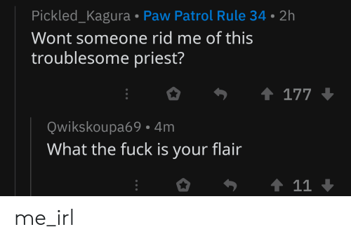Fuck, PAW Patrol, and Irl: Pickled_Kagura Paw Patrol Rule 34 2h  Wont someone rid me of this  troublesome priest?  Qwikskoupa69 4m  What the fuck is your flair me_irl