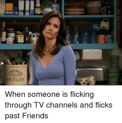 tv channel: PICKLES When someone is flicking through TV channels and flicks past Friends