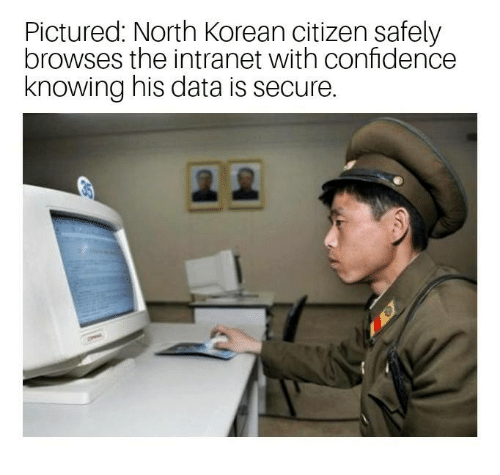 north korean: Pictured: North Korean citizen safely  browses the intranet with confidence  knowing his data is secure.