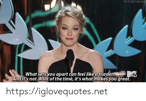 Time, Net, and Can: PICTURETOBURN  What sets you apart can feel like a burden.awards  Andit's not. Alot of the timė, it's what makes you great. https://iglovequotes.net