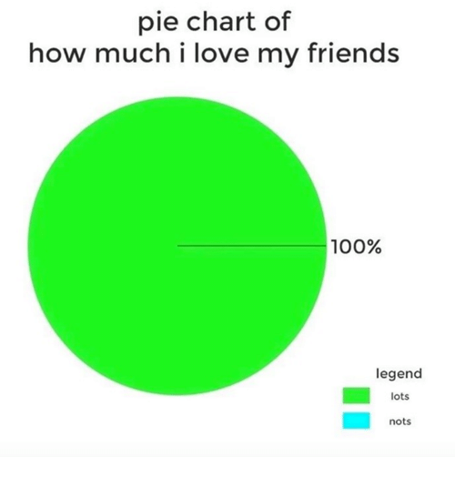 Pie Chart Of How Much I Love My Friends 100 Legend Lots Nots
