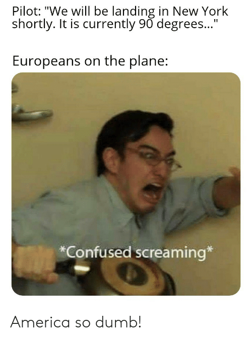 "landing: Pilot: ""We will be landing in New York  shortly. It is currently 90 degrees...""  Europeans on the plane:  *Confused screaming* America so dumb!"