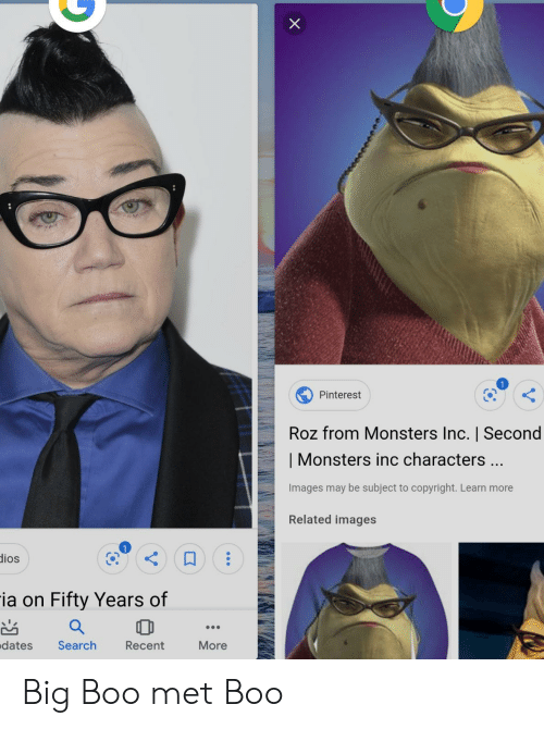Roz: Pinterest  Roz from Monsters Inc.   Second    Monsters inc characters...  Images may be subject to copyright. Learn more  Related images  dios  ia on Fifty Years of  dates  Search  More  Recent Big Boo met Boo